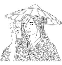 beautiful girl in kimano vector image