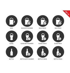 Beer and drinking icons on white background vector image