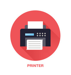 Black printer with paper page flat style icon vector