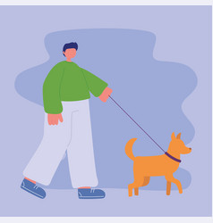 boy is walking with dog on a leash vector image