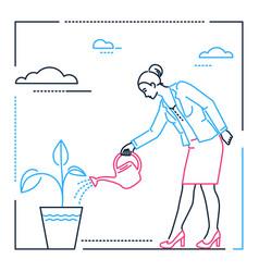 Businesswoman watering the plant - line design vector
