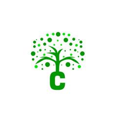 c letter tree logo vector image