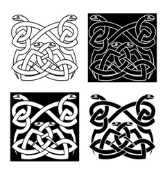 Celtic snakes knot ornaments in tribal style vector