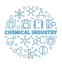 Chemical industry blue round vector