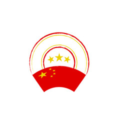 chinese flag retro stamp vector image