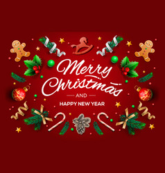christmas greeting card with calligraphic season vector image