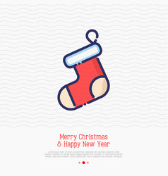 christmas red sock for gifts vector image