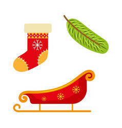 christmas stocking sleigh and fir tree branch vector image