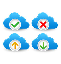 Cloud database icon set with approved verified vector