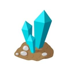 Crystals in earth cartoon icon vector