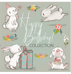 Cute birthday hares collection vector