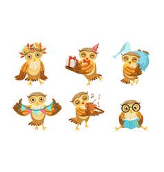 cute owl cartoon character set adorable funny vector image
