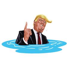 donald trump sinking cartoon caricature vector image