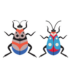 Dotted exotic tropical bug icons in flat vector