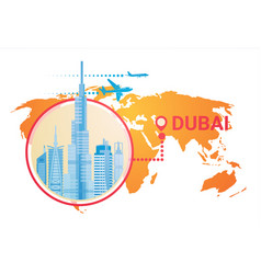 dubai skyline panorama over world map modern vector image