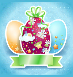 easter card with eggs and copy space vector image