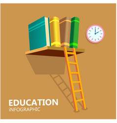 education infographic books stair clock background vector image