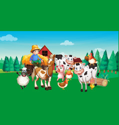 farm scene with animal farm cartoon style vector image