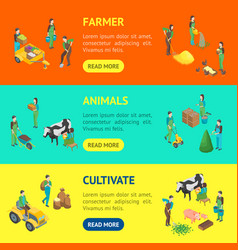 farmers at work 3d banner horizontal set isometric vector image