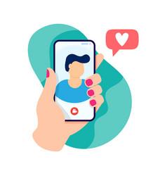 Female hand holding smartphone with boyfriend vector