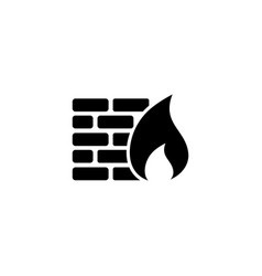 firewall security wall security flat icon vector image