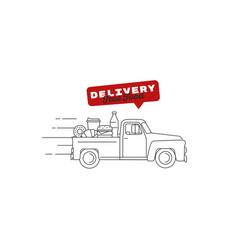 Food delivery old-fashioned retro truck full of vector