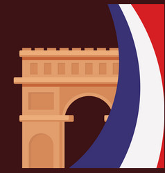 France culture card with flag and triumph arch vector