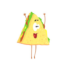 Funny sandwich cartoon fast food character vector