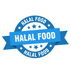 halal food ribbon halal food round blue sign vector image