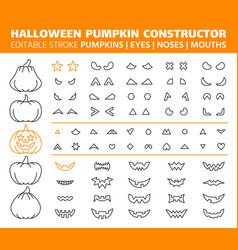 Halloween pumpkin simple line icons set vector