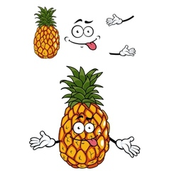 Happy cartoon tropical pineapple vector image