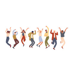 happy jumping office workers flat vector image