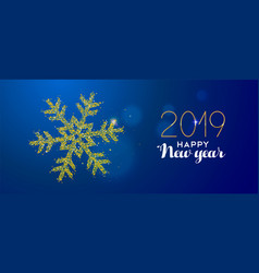 happy new year 2019 gold glitter holiday snow vector image