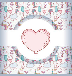 Heart with cute unicorn trendy character vector