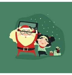 Hipster santa claus and little girl selfie with vector image