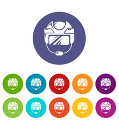 Hockey helmet icons set color vector