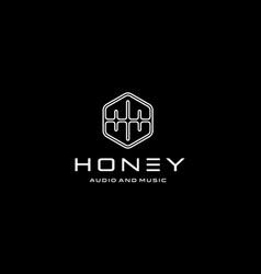 Honey audio and music logo design concept vector