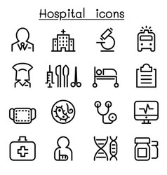 Hospital medicine icon set in thin line style vector