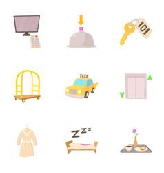 hotel resort icons set cartoon style vector image