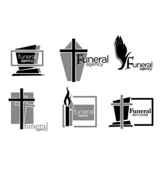 Interment and burial funeral services agency vector