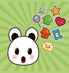 kawaii bear character social media image vector image