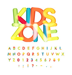 Kids zone alphabet candy style colorful vector