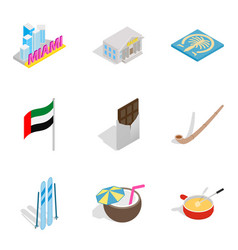 Leave of absence icons set isometric style vector