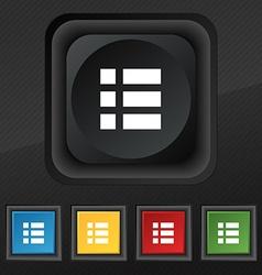 List menu app icon symbol Set of five colorful vector
