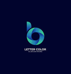logo abstract letter b gradient colorful style vector image