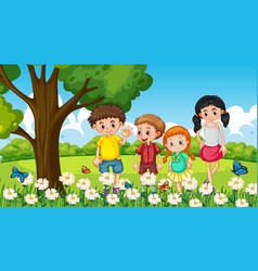 Many children standing in flower garden vector