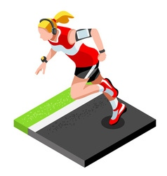 Marathon Runners Fitness Working Out 3D Isometric vector image