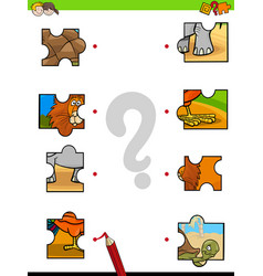 Match jigsaw puzzles educational game vector