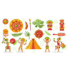 Maya culture doodle set vector