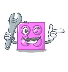 Mechanic toy brick mascot cartoon vector